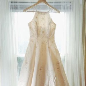 Beaded satin wedding gown
